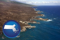massachusetts map icon and an aerial photograph of a Hawaiian shoreline