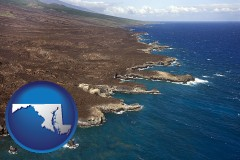 maryland map icon and an aerial photograph of a Hawaiian shoreline