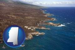 mississippi map icon and an aerial photograph of a Hawaiian shoreline