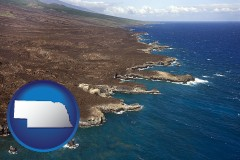 nebraska map icon and an aerial photograph of a Hawaiian shoreline