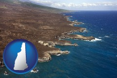 new-hampshire map icon and an aerial photograph of a Hawaiian shoreline