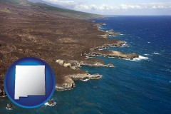 new-mexico map icon and an aerial photograph of a Hawaiian shoreline