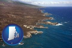 rhode-island map icon and an aerial photograph of a Hawaiian shoreline