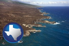 texas map icon and an aerial photograph of a Hawaiian shoreline