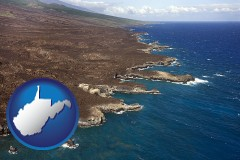west-virginia map icon and an aerial photograph of a Hawaiian shoreline