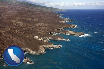 an aerial photograph of a Hawaiian shoreline - with California icon