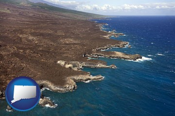 an aerial photograph of a Hawaiian shoreline - with Connecticut icon