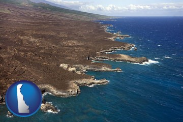 an aerial photograph of a Hawaiian shoreline - with Delaware icon