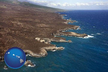 an aerial photograph of a Hawaiian shoreline - with Hawaii icon