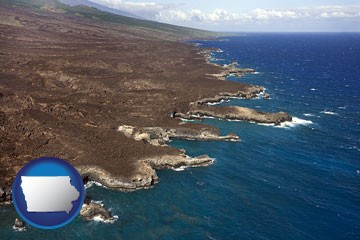 an aerial photograph of a Hawaiian shoreline - with Iowa icon