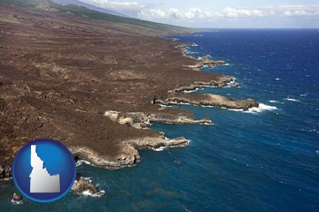 an aerial photograph of a Hawaiian shoreline - with Idaho icon