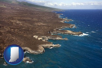 an aerial photograph of a Hawaiian shoreline - with Indiana icon