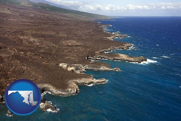 an aerial photograph of a Hawaiian shoreline - with Maryland icon