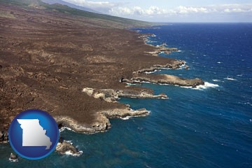 an aerial photograph of a Hawaiian shoreline - with Missouri icon