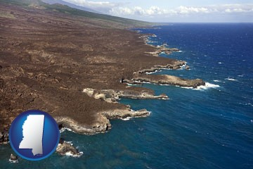 an aerial photograph of a Hawaiian shoreline - with Mississippi icon