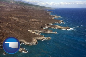 an aerial photograph of a Hawaiian shoreline - with Oklahoma icon