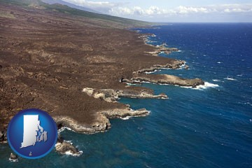 an aerial photograph of a Hawaiian shoreline - with Rhode Island icon