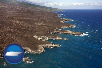 an aerial photograph of a Hawaiian shoreline - with Tennessee icon