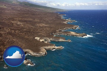 an aerial photograph of a Hawaiian shoreline - with Virginia icon