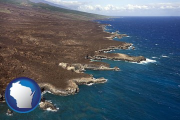 an aerial photograph of a Hawaiian shoreline - with Wisconsin icon