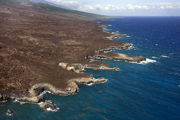an aerial photograph of a Hawaiian shoreline